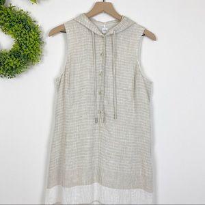 Anne Klein Tan White Stripe 100% Linen Maxi Dress
